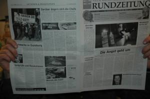 Titel und Rückseite der Rundzeitung.
