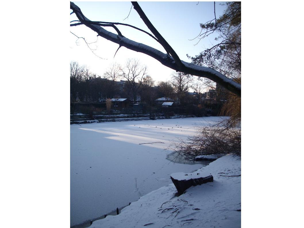 Schnee und Eis auf dem Goldbekkanal