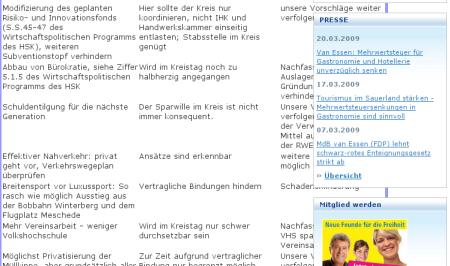 """Misslungen - die Seite """"Laufende Projekte"""""""