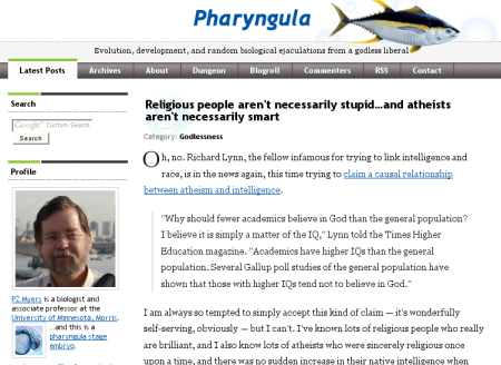 Pharyngula: Evolution, development, and random biological ejaculations from a godless liberal