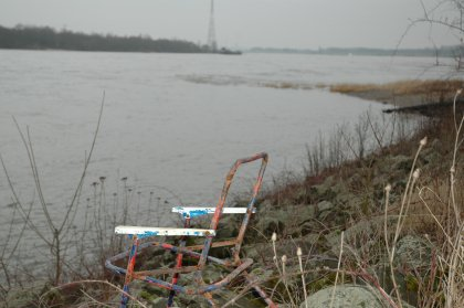 Der Niederrhein bei Götterswickerhamm, unterhalb des Strandhaus Ahr