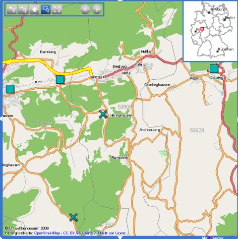 Karte mit registrierten Betrieben im Bereich Meschede, Olsberg und Winterberg.