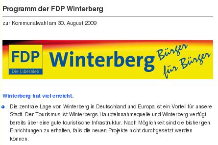 FDP Winterberg: Kommunalwahlprogramm