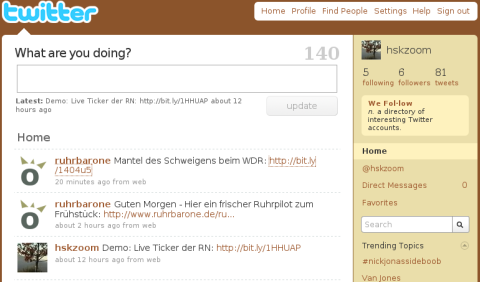 Twitter - The beginning: zur Zeit kaum Gezwitscher (Screenshot)