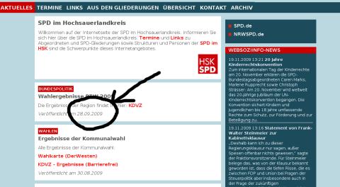 Aktuelles von der HSK-SPD (screenshot vom 21. November 2009)