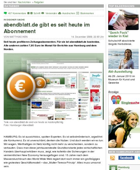 Ein dickes Euro-Zeichen: abendblatt.de wird kostenpflichtig