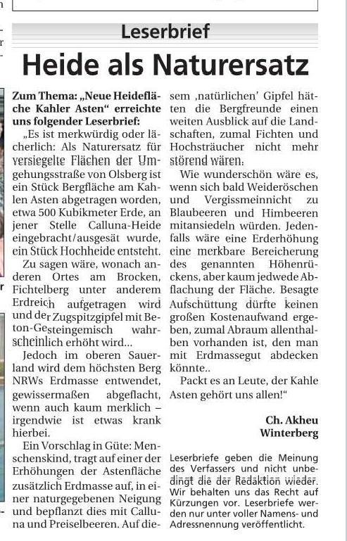 Leserbrief Kahler Asten