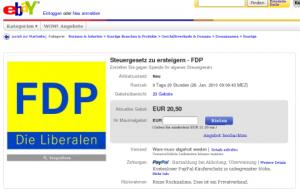 FDP: Steuergesetz zu ersteigern (screenshot: zoom)