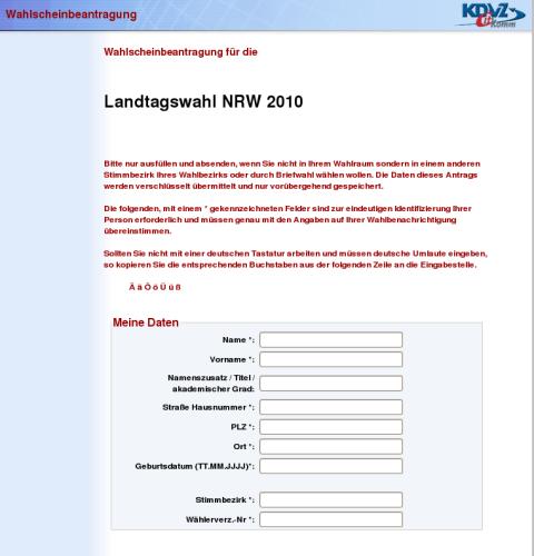 Kostet nur wenige Minuten: der Wahlscheinantrag zur Landtagswahl 2010 (screenshot 24. April 2010)