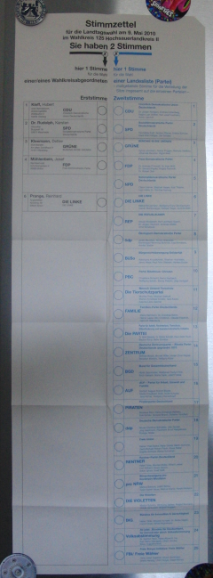 Der Wahlzettel zur NRW Wahl 2010