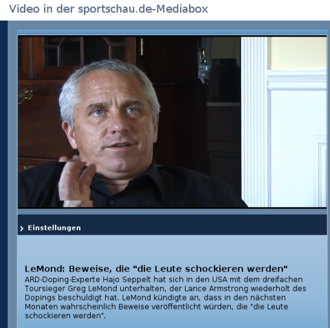 Greg LeMond im Interview mit Hajo Seppelt (screenshot 20. Juli 2010)