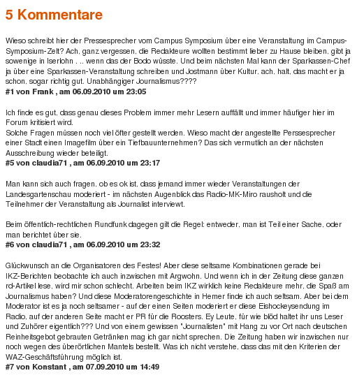 Kommentare zu einem Artikel auf DerWesten(screenshot: 7. September 2010)