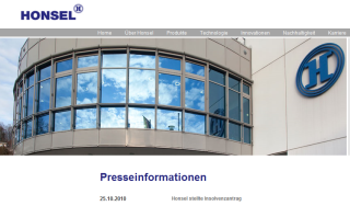 Presseinformation auf der Honsel Website (screenshot)