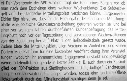 """Auf Platz 1 der Beliebtheitsskala: das Mitteilungsblatt. """"Dürftig"""" hingegen die Tageszeitung. (foto: zoom)"""