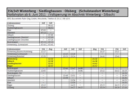 Notfahrplan für die SchülerInnen des Gymnasiums Winterberg (Bild: brs)