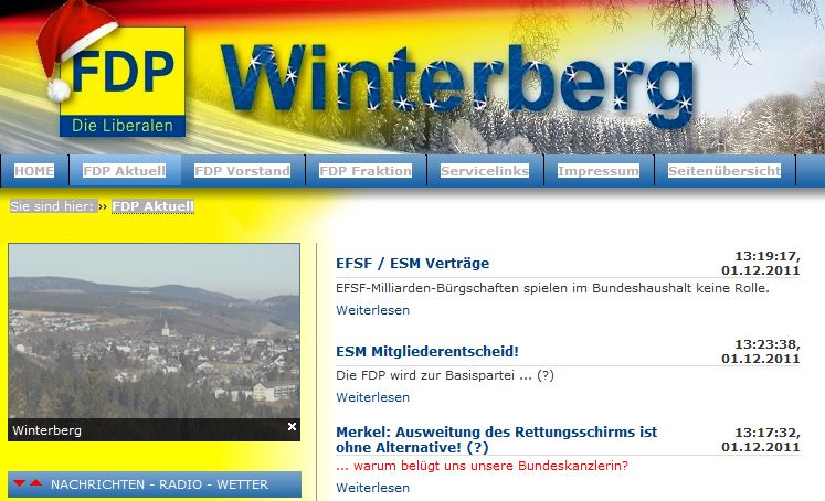 Website der FDP Winterberg von heute. (screenshot: zoom)