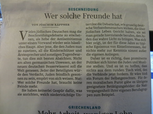 Kommentar von Joachim Käppner in der heutigen Ausgabe der Süddeutschen Zeitung (foto: zoom)