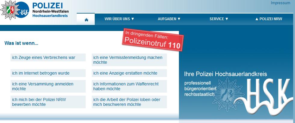 Die Website der Polizei im HSK ist nach einer Sicherheitsabschaltung wieder online. (screenshot: zoom)
