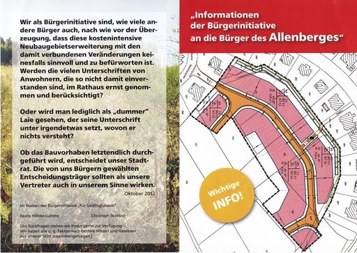 Heute im Briefkasten: Broschüre der Bürgerinitiative Allenberg