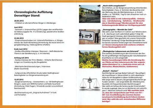 Die Broschüre innen: Links eine Chronologie, rechts vier Argumente gegen das Neubaugebiet.