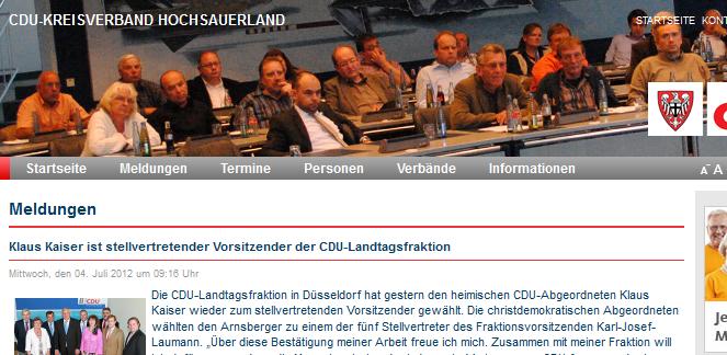 Die CDU und das Internet sind keine engen Freunde. Olle Kamellen auf der Website. Keine Meldung zur Sensburg-Wahl (Screenshot)
