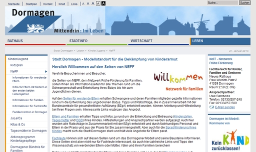Website der Stadt Dormagen (screenshot vom 27.01.2013)