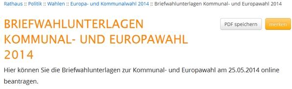 Die Briefwahl kann man leicht auf der Website der Stadt Winterberg beantragen (screenshot)