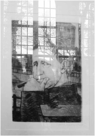 Fotographie einer Radierung von Arno Mohr aus dem Jahr 1960 im Brecht-Weigel-Haus/Buckow (foto: kretschmar)