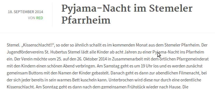 """""""Der Verein möchte vom 25. auf den 26. Oktober 2014 in Zusammenarbeit mit dem örtlichen Pfarrgemeinderat mit den Kindern einen schönen Abend verbringen."""" (screenshot)"""