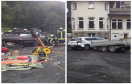 Unfall am Haus Wildenstein. Zum Glück war keine Radfahrgruppe auf der Strecke. (foto: wegener)