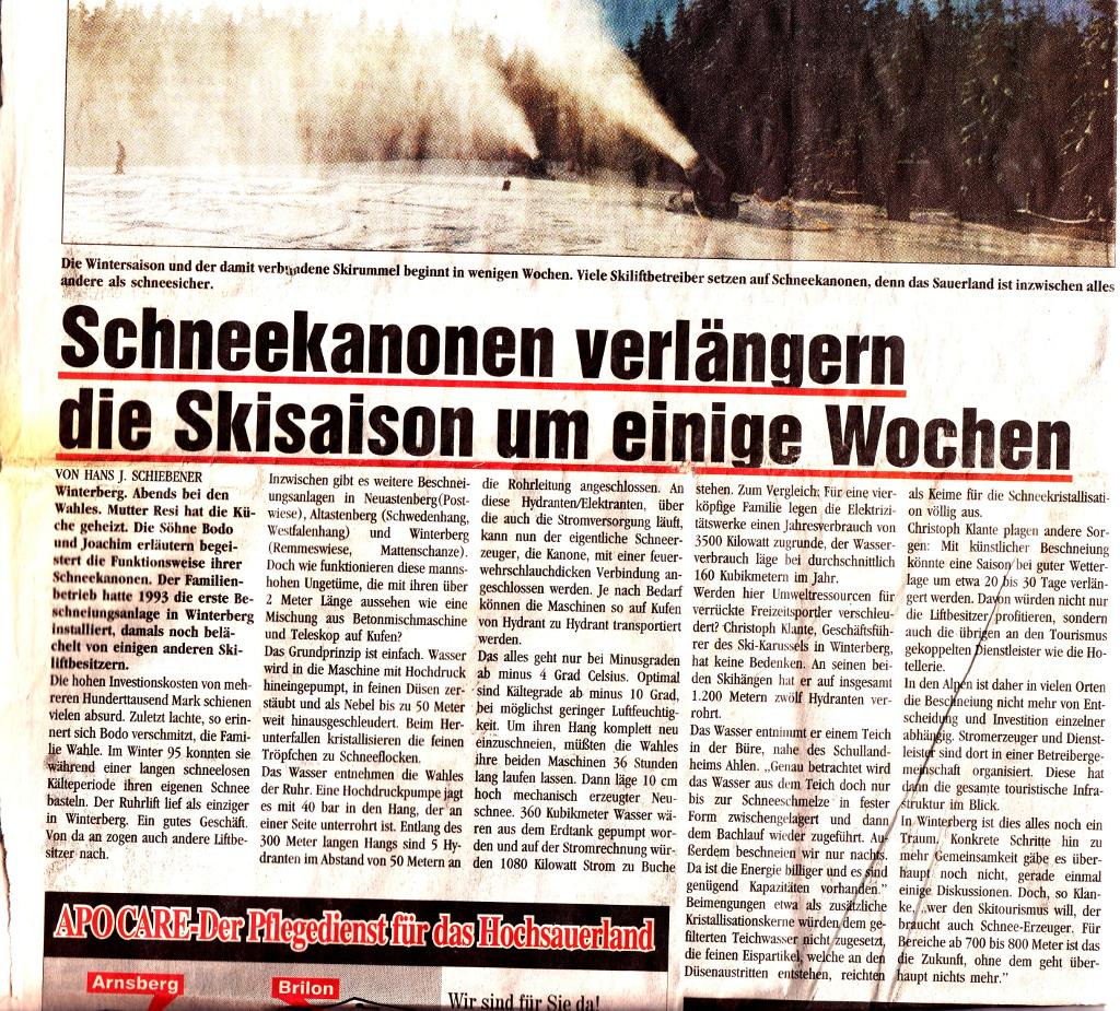 Ich muss gestehen, dass ich damals sehr gerne für den Sauerlandkurier geschrieben habe. Die hatten eine pfiffige Redakteurin. (Scan: zoom)