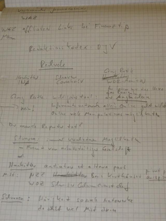 """Ein Teil der Notizen zum """"Recherche-Forum"""". (foto: zoom)"""