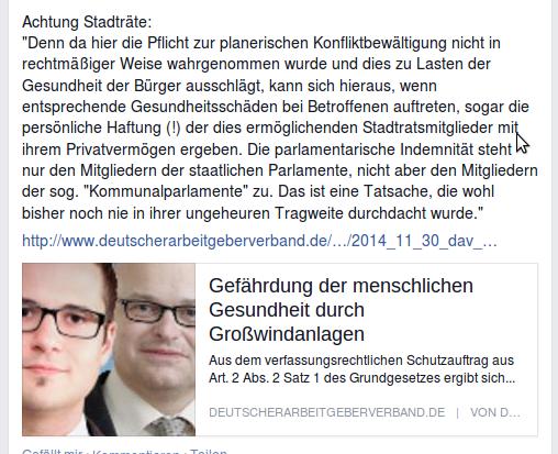Windkraft und Gesundheit: Persönliche Haftung der Ratsmitglieder? (screenshot: 10.12.2014 17.00)