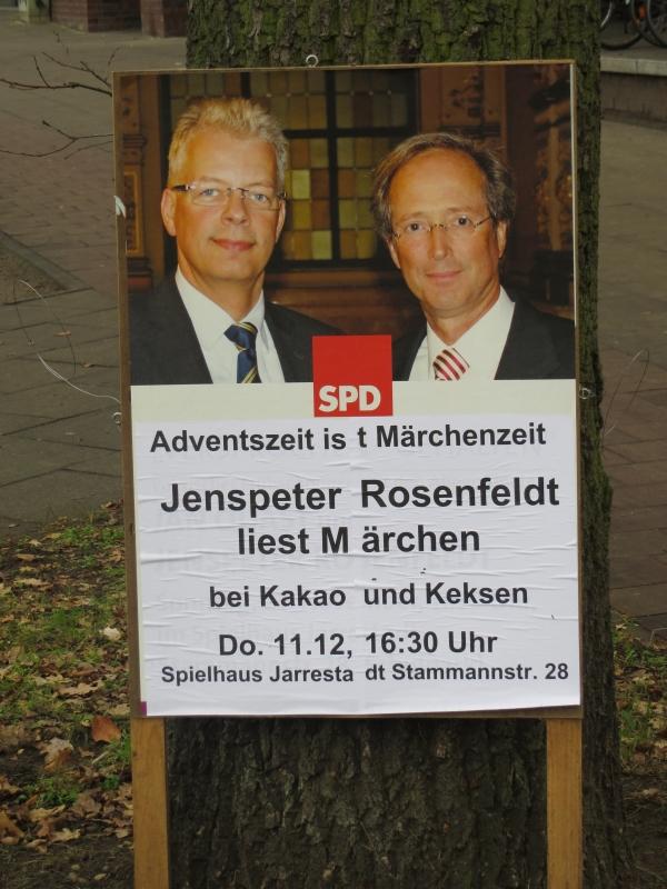 Plakat der SPD nahe der U-Bahn Borgweg in Hamburg (foto: zoom)