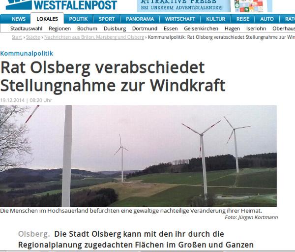 Illustration eines WP-Berichts zu Olsberg. Vier Windräder ohne Ortsangabe. (screenshot)