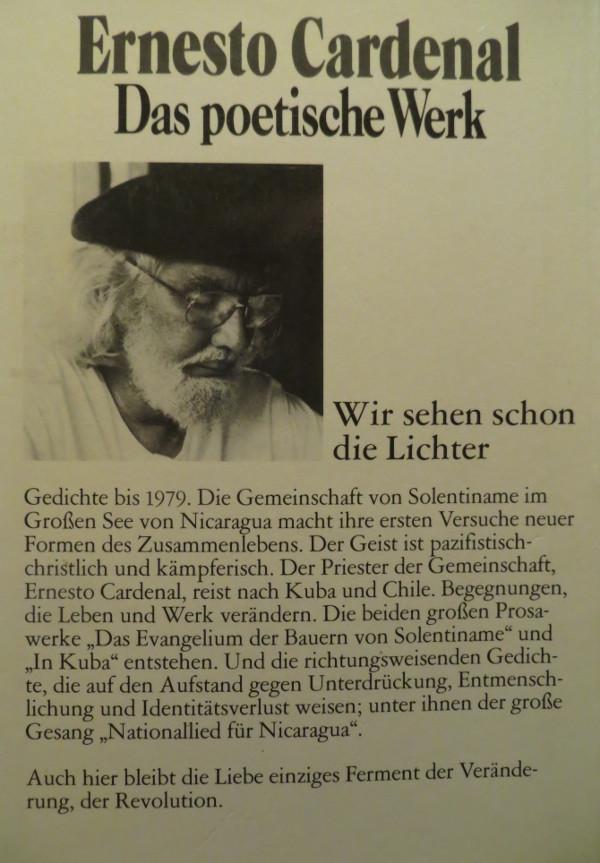 Rückumschlag von: Ernesto Cardenal, Wir sehen schon die Lichter, Wuppertal 1986 (foto: zoom)