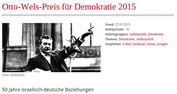"""Die SPD-Bundestagsfraktion verleiht in diesem Jahr zum dritten Mal den """"Otto-Wels-Preis für Demokratie"""" (screenshot)"""