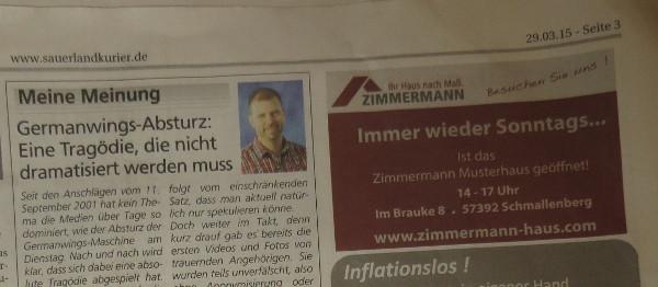 Ein heuchlerischer, undifferenzierter Rundumschlag auf Seite 3 des heutigen Sauerlandkuriers. (foto: zoom)