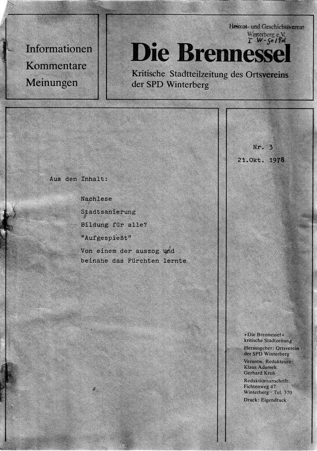 """Die dritte Ausgabe der Winterberger """"Brennessel"""" von 1978."""