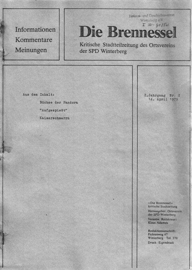 """Die letzte """"Brennessel"""" als """"Kritische Stadtteilzeitung des Ortsvereins der SPD Winterberg"""""""