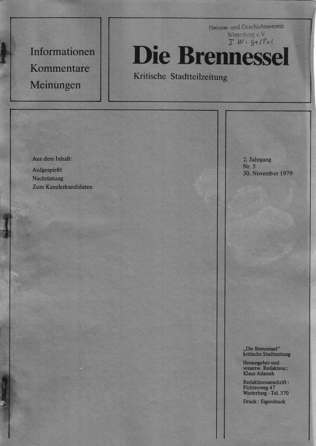 Die Brennessel mit 10 Seiten zu Lokal-, Deutschland- und Weltpolitik.