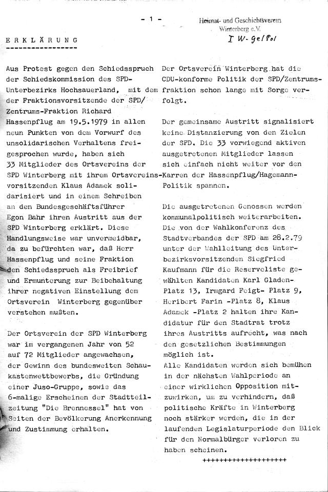 """Die Erklärung des Austritts von mehr als 30 SPD-Genossen/Genossinen(?) aus der Winterberger SPD aus Sicht der """"Brennessel"""". (scan: zoom)"""