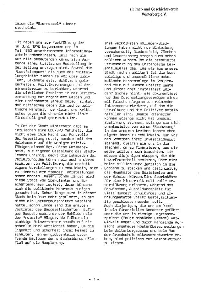 Hier erklärt Klaus Adamek, aus welchen Gründen er die Brennessel nach einem Jahr Pause wieder auflegt. (scan: zoom)