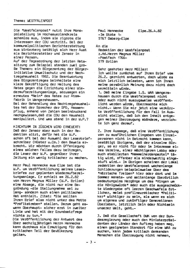 Vorwürfe gegen die Westfalenpost und ein Leserbrief aus Elpe zur Leserbriefzensur.