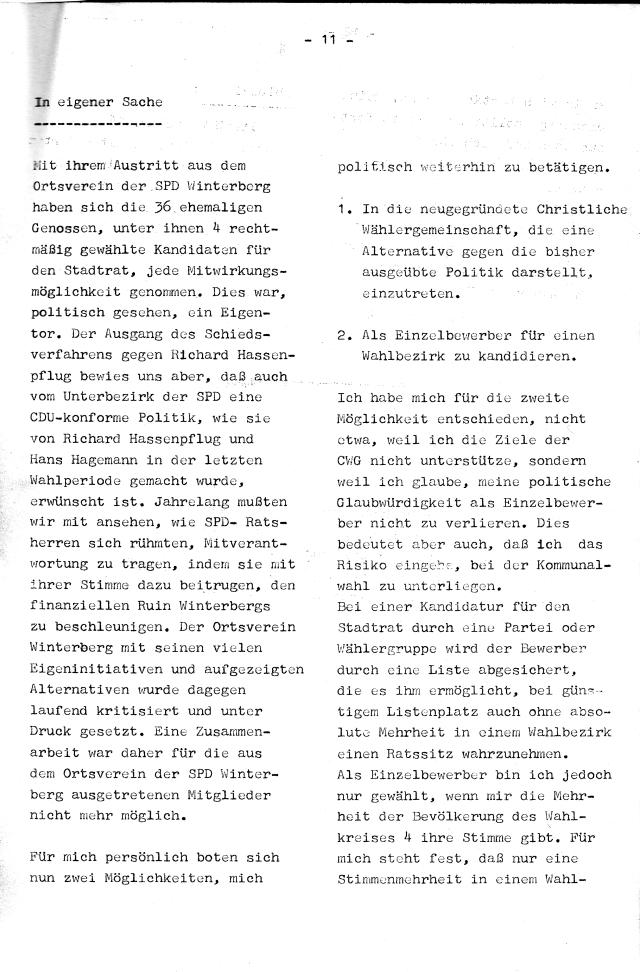 Auf Seite 11 und 12 der Brennessel lesen wir die Selbsteinschätzung des Parteiaustritts: Eigentor