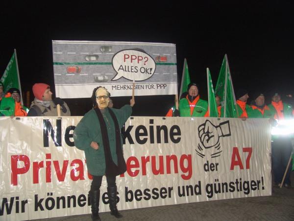 Aktion gegen Autobahn-ÖPP von GiB und VdStra. (Bild: GiB)