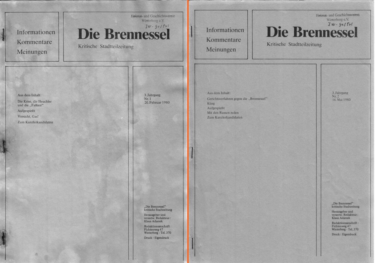 Heute habe ich zwei Ausgabe der Brennessel online gestellt. Mehr gab es 1980 auch nicht. (collage: zoom)