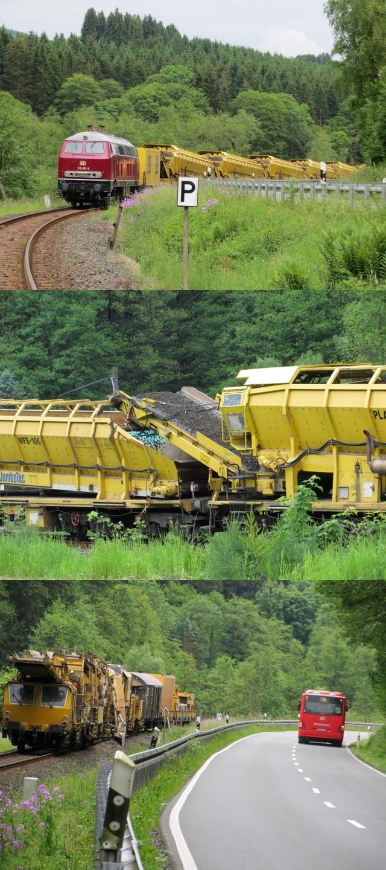 Der Arbeitszug der Bahn war heute recht eindrucksvoll. Es wurde viel Schotter bewegt. (fotos und Montage: zoom)