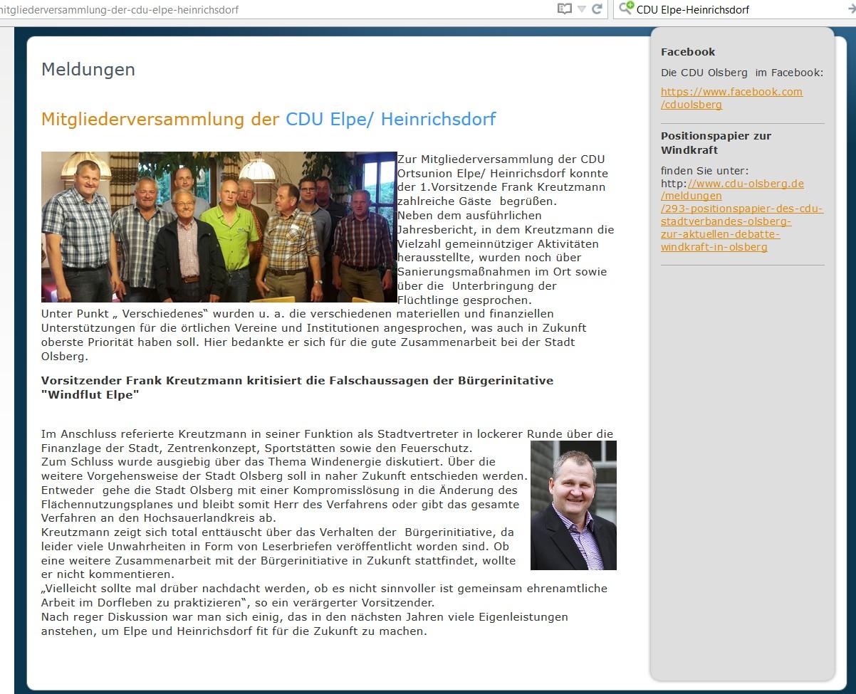 Screenshot der Meldung auf der Website der CDU. Leider fehlen sowohl das Datum der Versammlung als auch das Datum der Veröffentlichung.