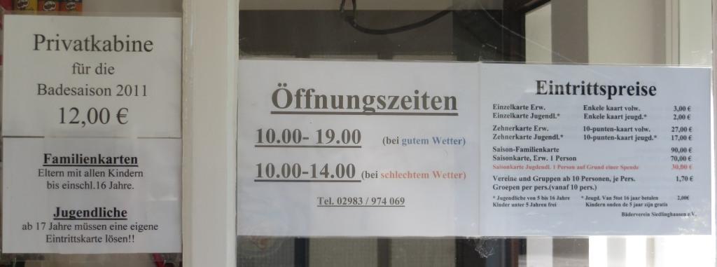 Preise und Öffnungszeiten des Freibads Siedlinghausen.
